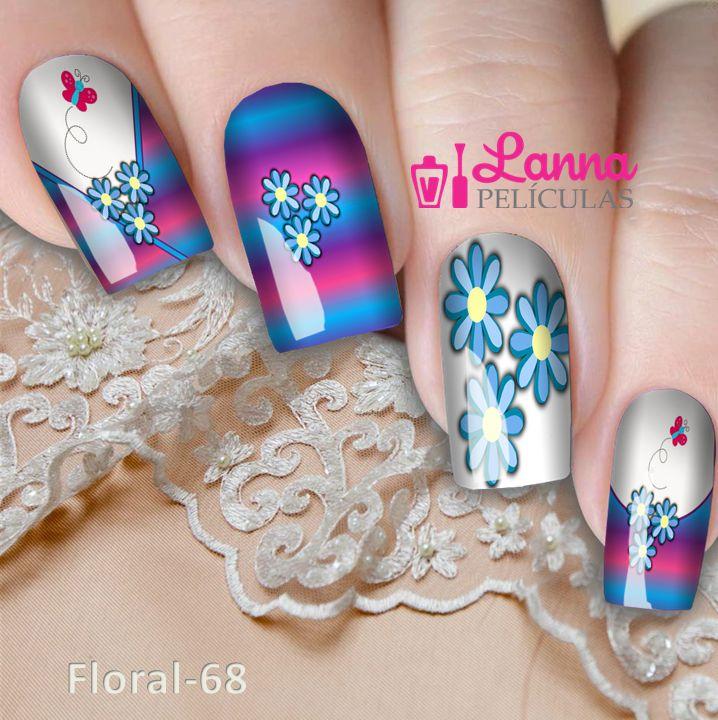 Películas ou Adesivos decorados para unhas  Degradê Floral
