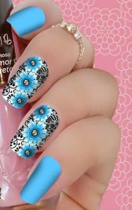 Películas para unhas  Floral Azul Claro de Fundo Cinza