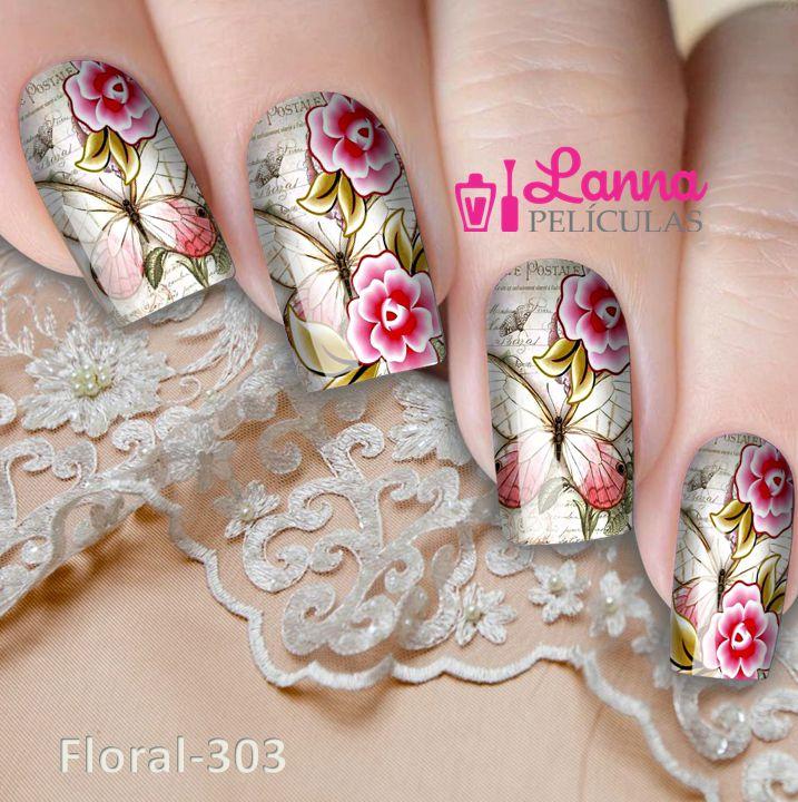 Películas decorados para unhas  Floral e Borboletas