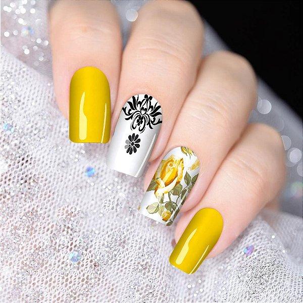 Películas de unha de unha- Floral Amarelo   Mandala