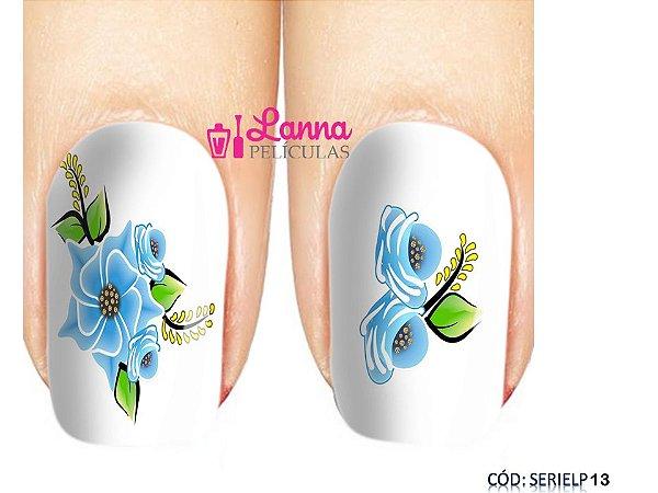 Películas de unha (SerieLP) - Floral Azul Claro