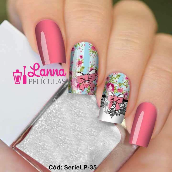 Películas de unha (SerieLP) - Floral e Laço Rosa