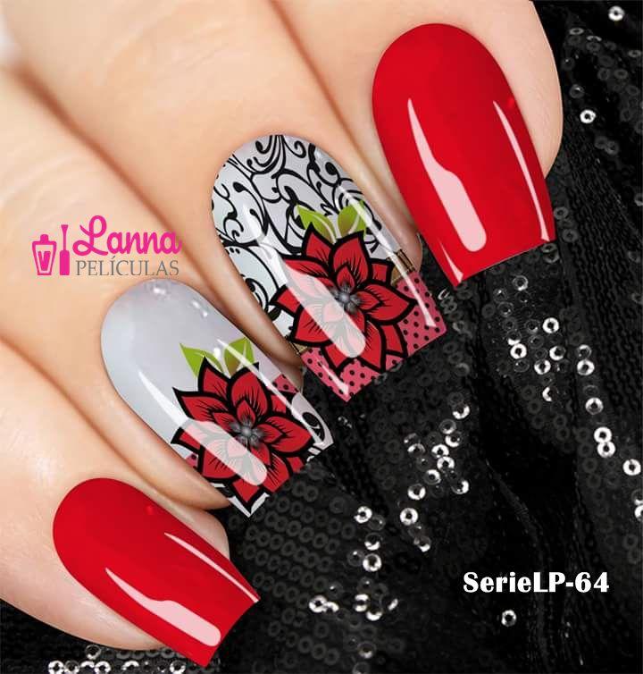 Películas de unha (SerieLP) - Arabesco Floral Vermelha