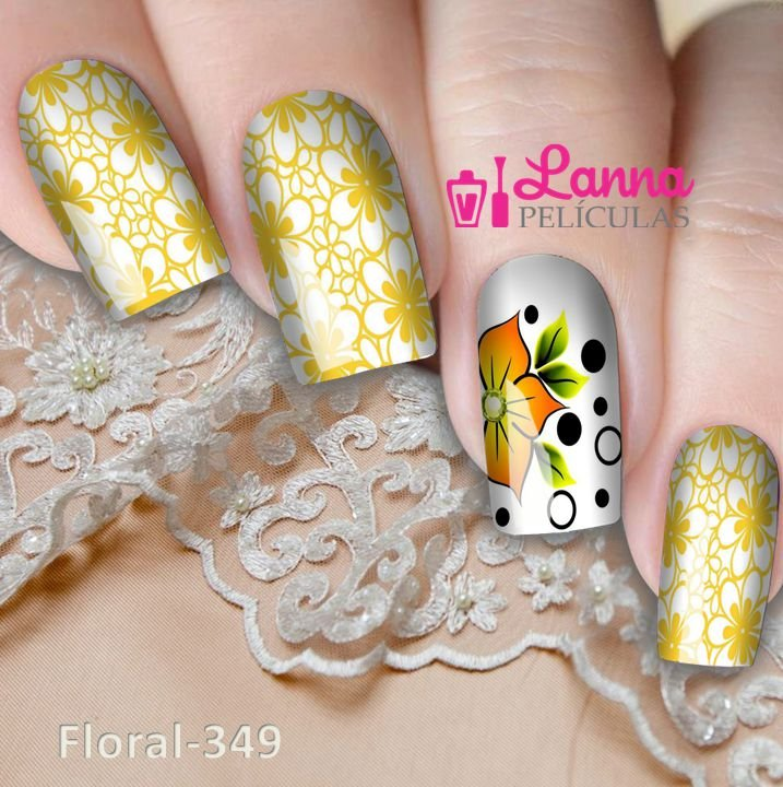 Películas ou Adesivos de Unhas  Modelo Floral