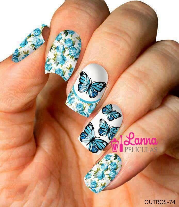 Películas de unhas: Modelo Borboletas Floral Azul