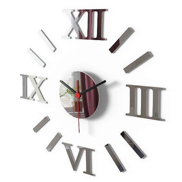 Relógio De Parede Romano Grande Espelho Sala Cozinha Monte Você Mesmo