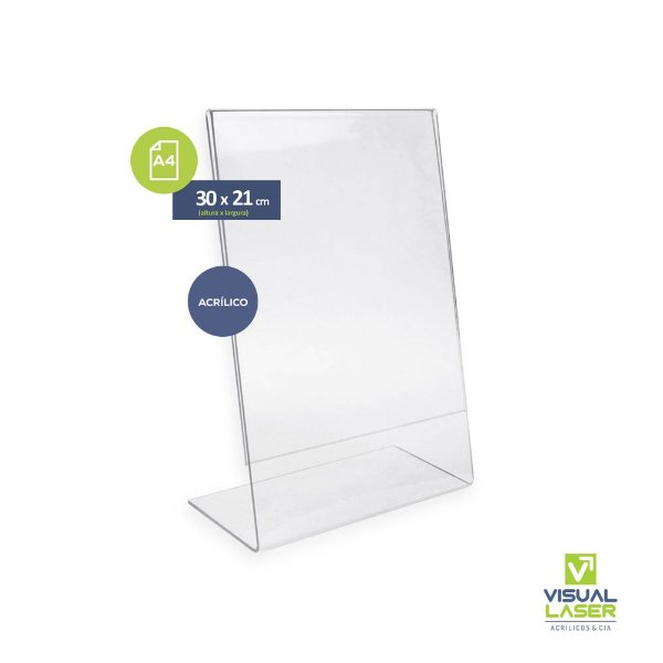 Display Porta Folha A4 em L Acrílico Balcão Mesa Cardápio