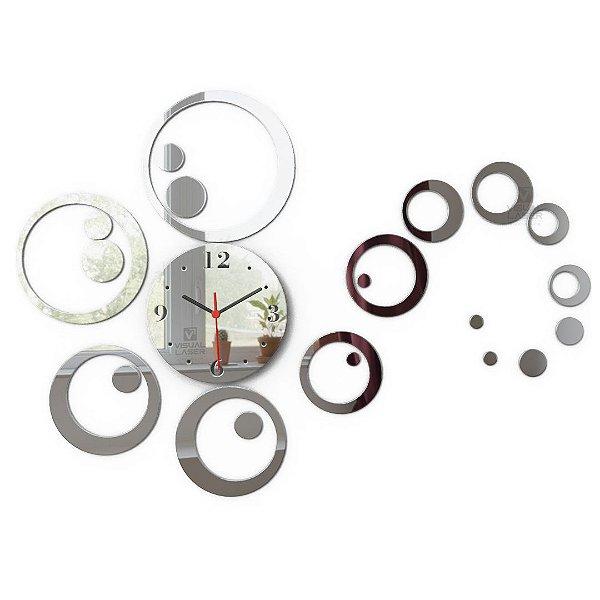Relógio de parede Decorativo Espelhado Bolas sala cozinha