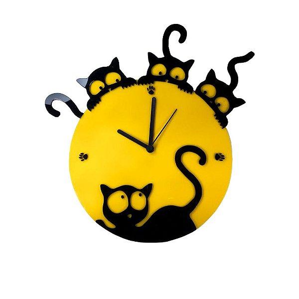 Relógio Gato Parede Cozinha Petshop Animais Amarelo