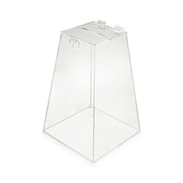 Urna piramide PS 20x20x30cm PS Cristal Transparente Sorteio