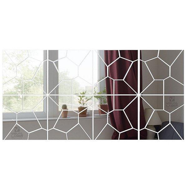 Espelho Decorativo Grande Acrílico 1,60m X 40cm Quadrados Voronoí