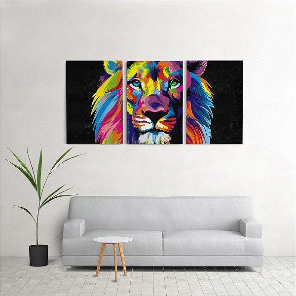 Quadro Decorativo Para Sala 60x120cm Leão Quarto Grande