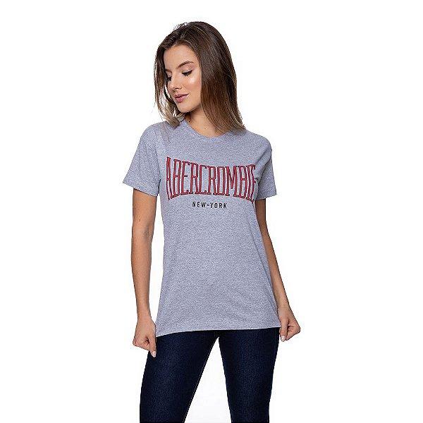 Camiseta Feminina Abercrombie Original Cinza