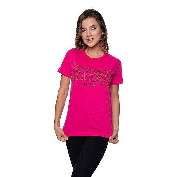 Camiseta Feminina Abercrombie Original Rosa Choque