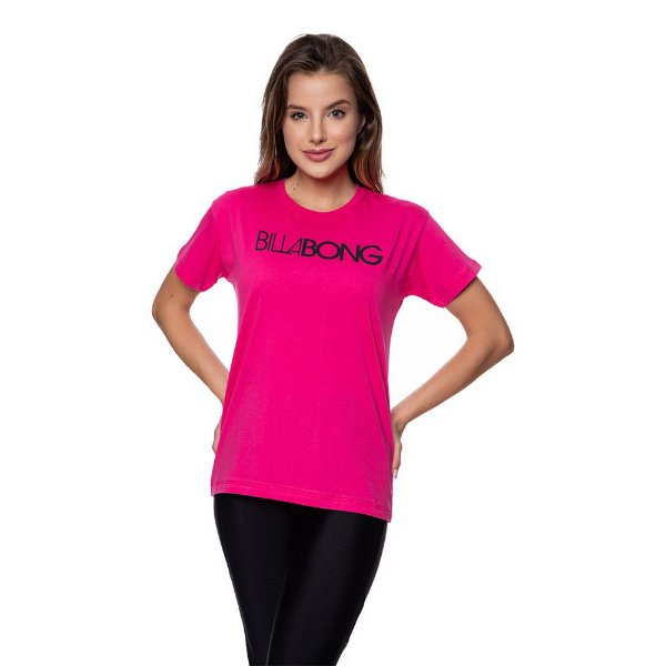 Camiseta Feminina Billabong Original Rosa Choque