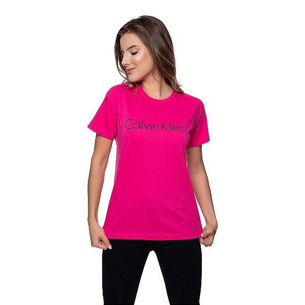 Camiseta Feminina Calvin Klein Original Rosa Choque