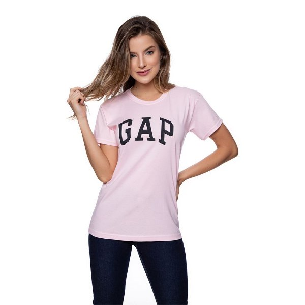 Camiseta Feminina GAP Original Rosa Bebê
