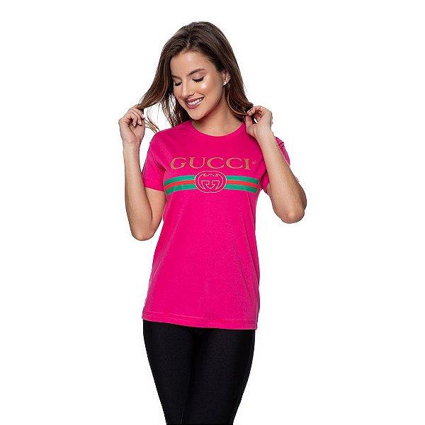 Camiseta Feminina Gucci Original Rosa Choque
