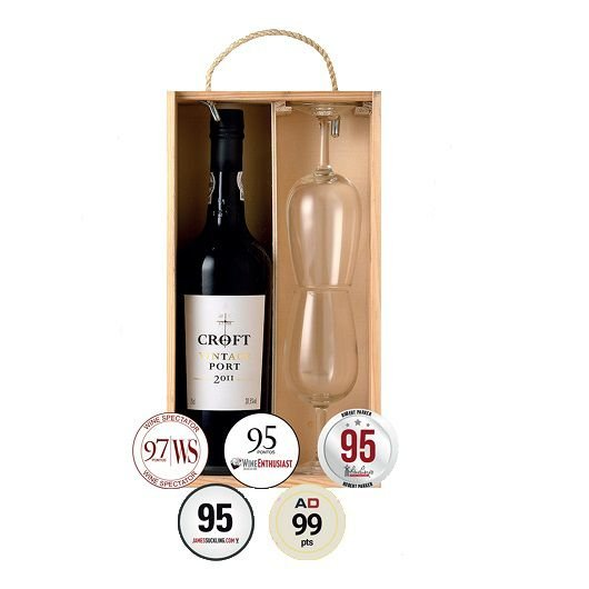 KIT PORTO CROFT VINTAGE 2011 - 1 GF 750ML + 02 TAÇAS