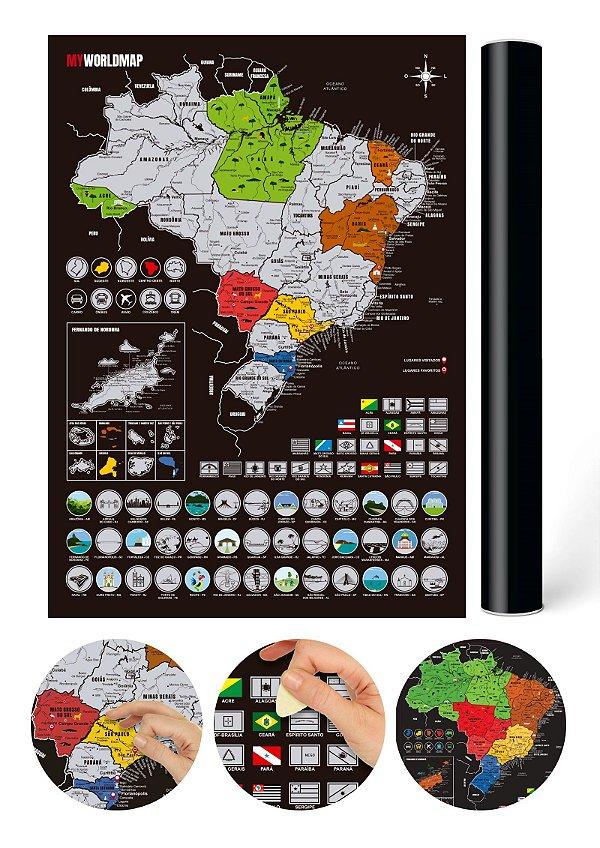 Mapa Raspadinha do Brasil com Cidades e Bandeiras - Prata - Mapa Raspar Viagens Brasil - 42x30