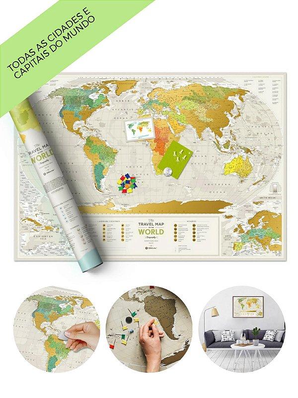 Mapa de Raspadinha Geography Classic 88x60 - 10.000 Cidades