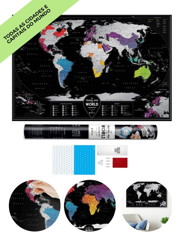 Mapa de Raspadinha XXL - Black & Silver - 96x60
