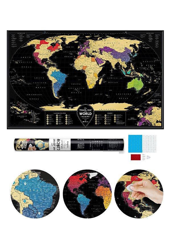 Mapa de Raspadinha XXL com 10.000 cidades - Gold - 96x60