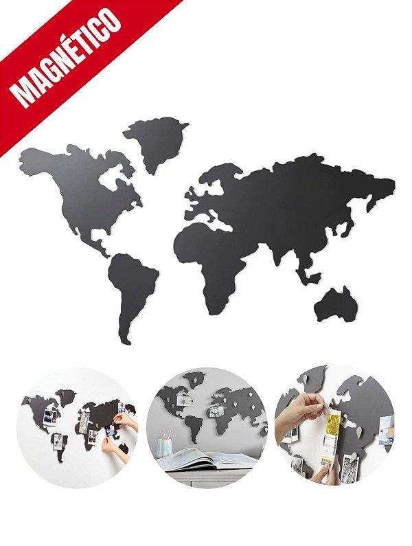 Mapa Mundi Magnético de Metal para Imãs e Fotos - Modelo 001