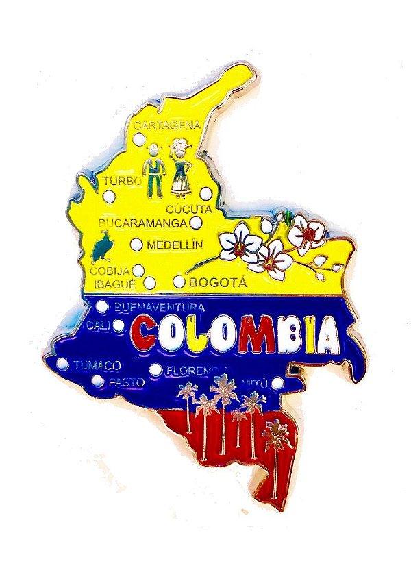 Imã Colômbia - Mapa Colômbia com Bandeira, Cidades e Símbolos