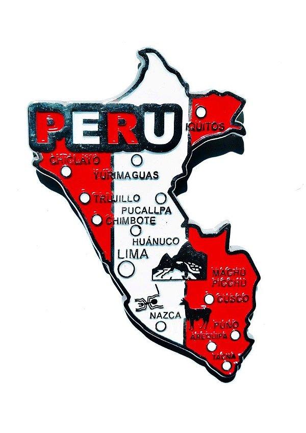 Imã Peru - Mapa Peru com Bandeira, Cidades e Símbolos