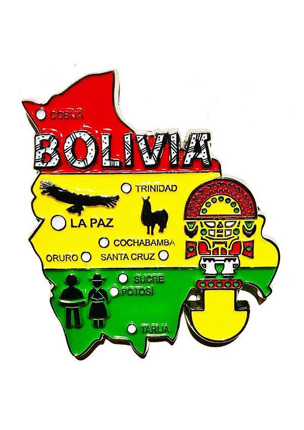 Imã Bolívia - Mapa Bolívia com Bandeira, Cidades e Símbolos