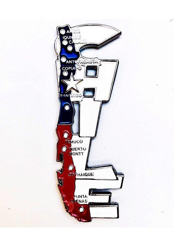 Imã Chile - Mapa Chile com Bandeira, Cidades e Símbolos