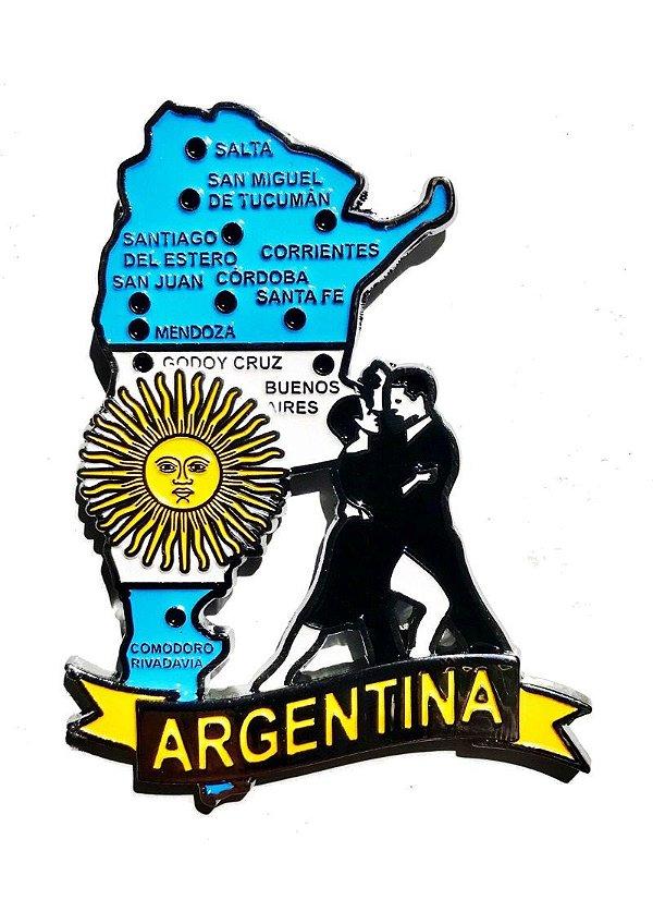 Imã Argentina - Mapa Argentina com Bandeira, Cidades e Símbolos