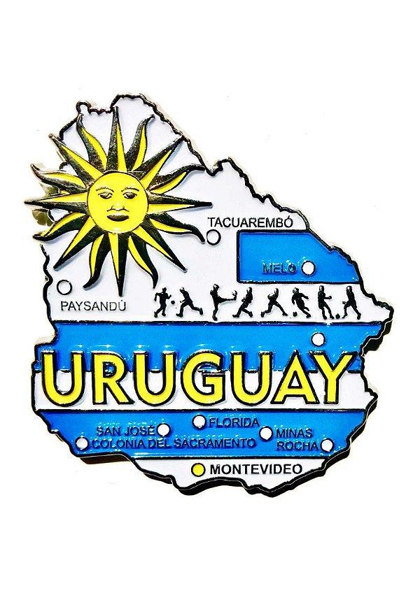Imã Uruguai - Mapa Uruguai com Bandeira, Cidades e Símbolos