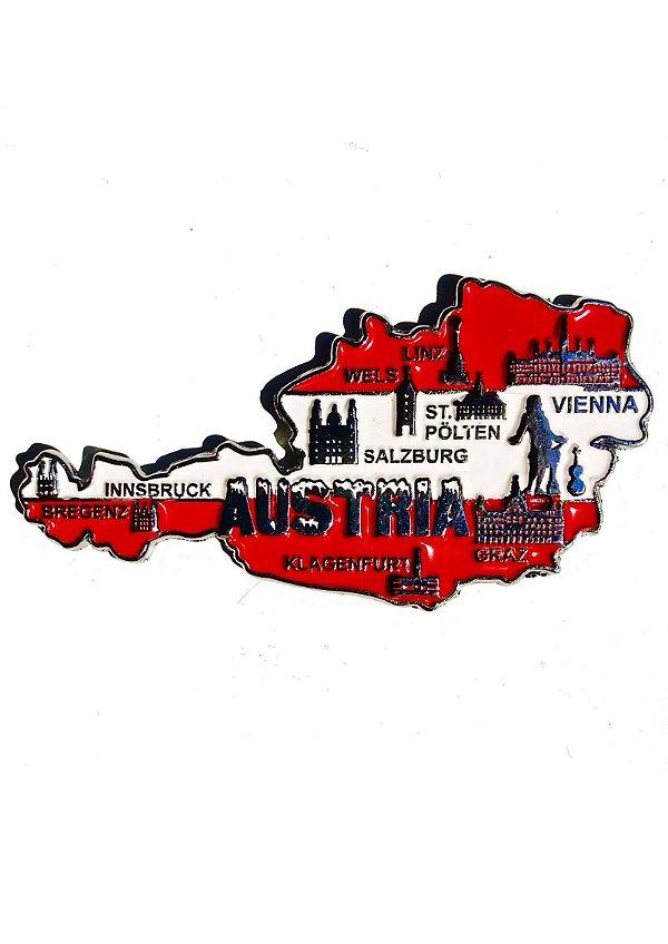 Imã Áustria - Mapa Áustria com Bandeira, Cidades e Símbolos