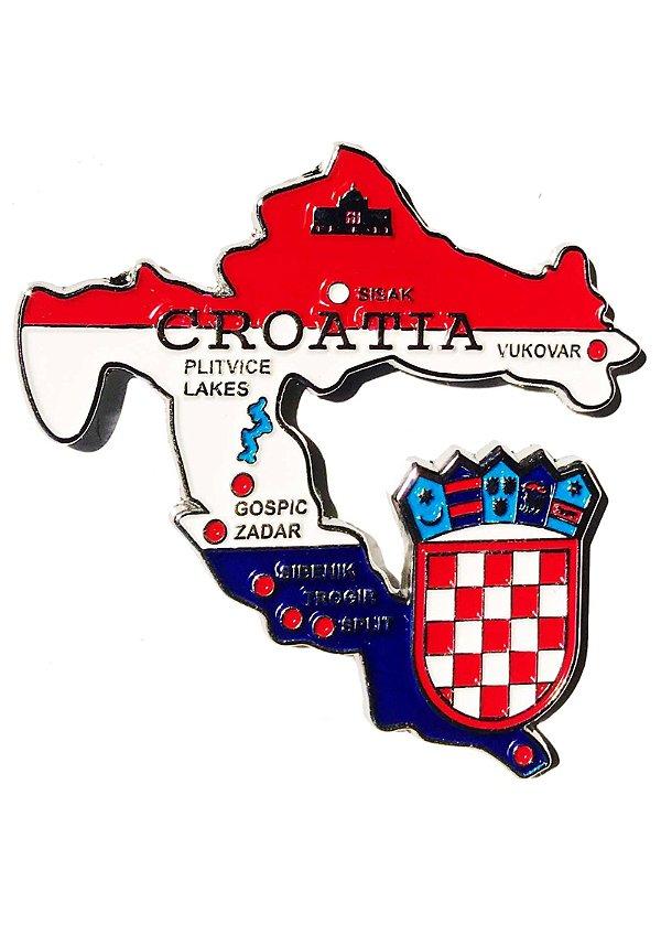 Imã Croácia - Mapa Croácia com Bandeira, Cidades e Símbolos