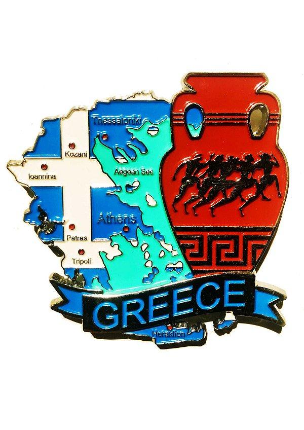 Imã Grécia - Mapa Grécia com Bandeira, Cidades e Símbolos