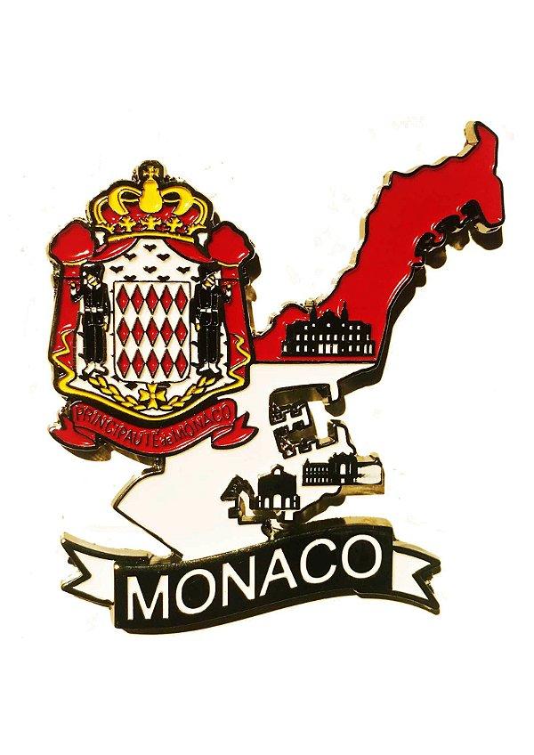 Imã Mônaco - Mapa Mônaco com Bandeira, Cidades e Símbolos