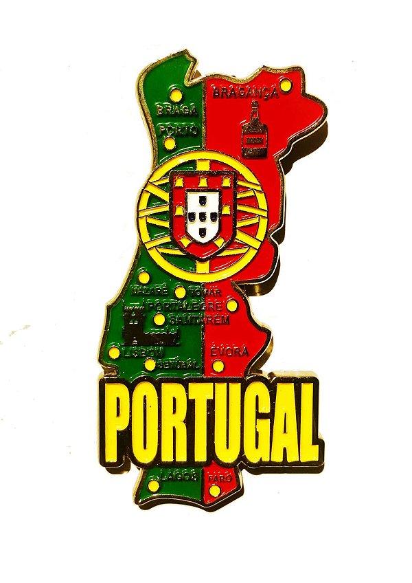 Imã Portugal - Mapa Portugal com Bandeira, Cidades e Símbolos