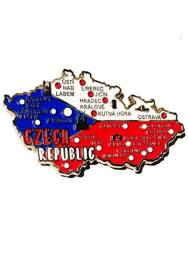 Imã República Tcheca - Mapa com Bandeira, Cidades e Símbolos