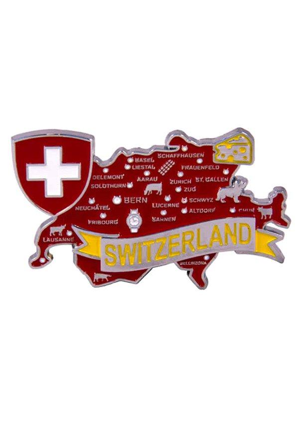 Imã Suíça - Mapa Suíça com Bandeira, Cidades e Símbolos