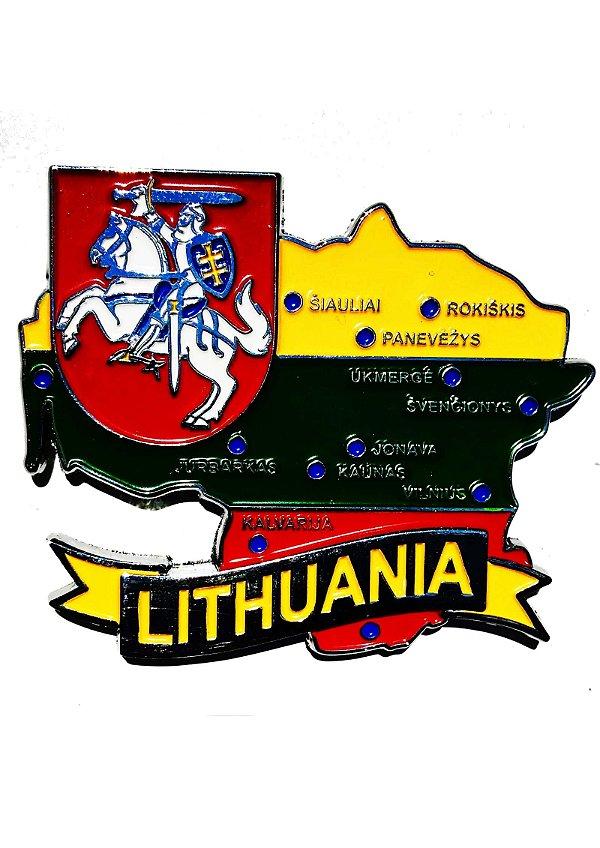 Imã Lituânia - Mapa Lituânia com Bandeira, Cidades e Símbolos