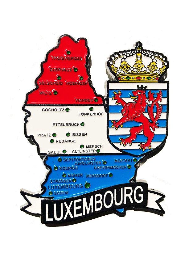 Imã Luxemburgo - Mapa Luxemburgo com Bandeira, Cidades e Símbolos