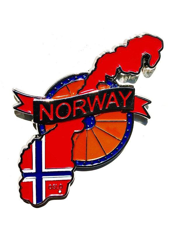 Imã Noruega - Mapa Noruega com Bandeira, Capital e Símbolo