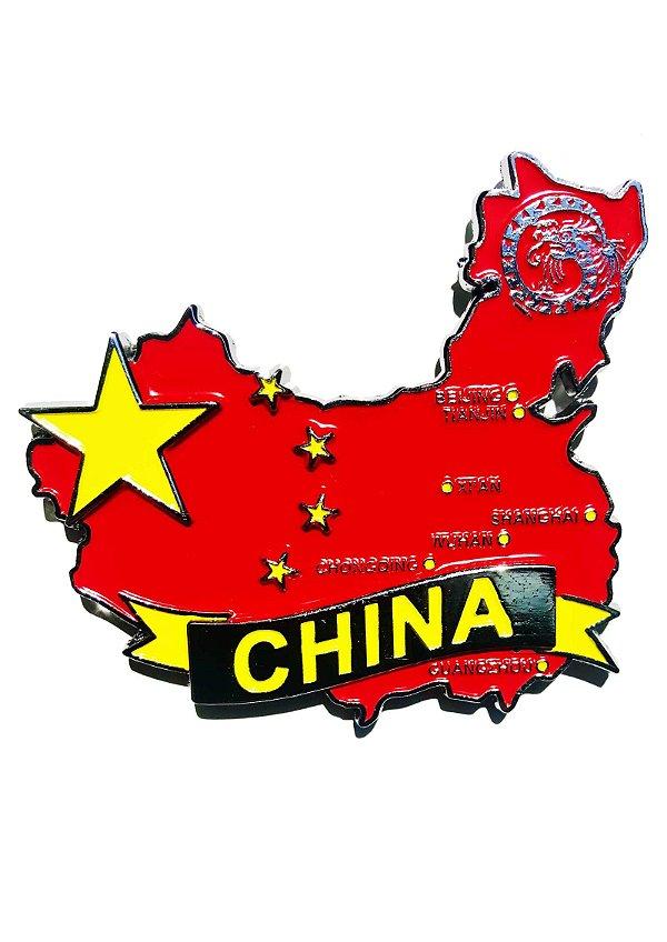Imã China - Mapa China com Bandeira, Cidades e Símbolos