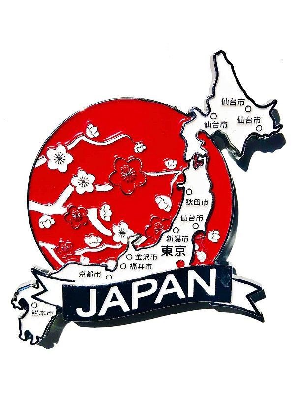 Imã Japão - Mapa Japão com Bandeira, Cidades e Símbolos