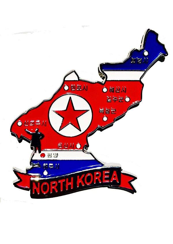 Imã Coréia do Norte - Mapa Coréia do Norte com Bandeira, Cidades e Símbolos