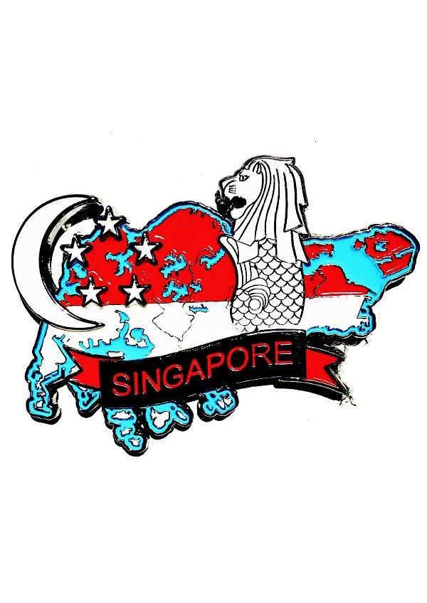 Imã Singapura - Mapa Singapura com Bandeira e Símbolos