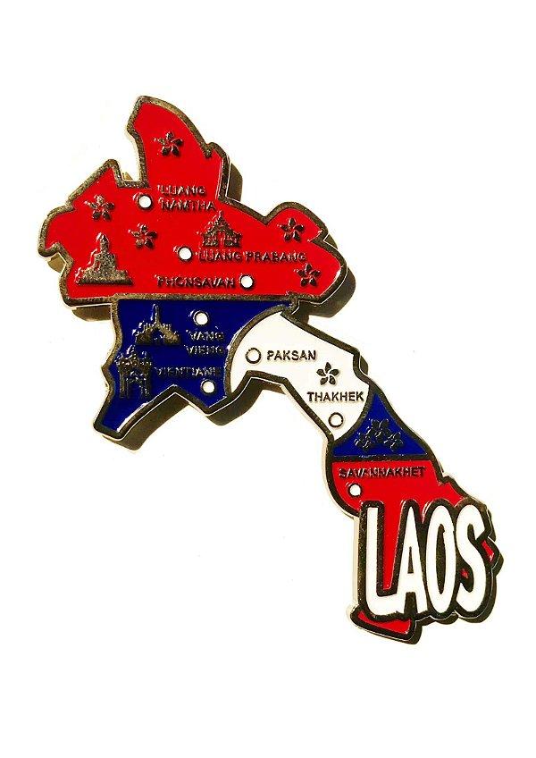 Imã Laos - Mapa Laos com Bandeira, Cidades e Símbolos