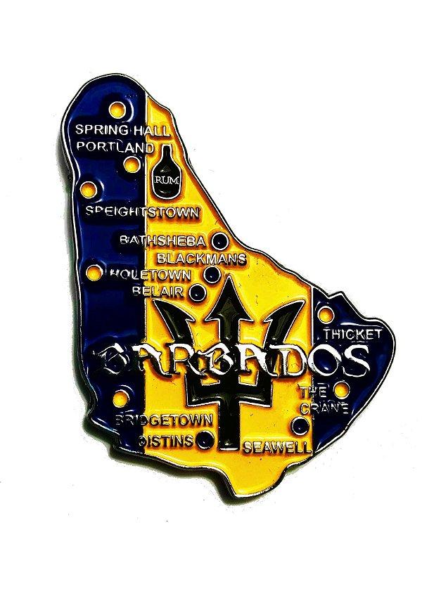 Imã Barbados - Mapa Barbados com Bandeira, Cidades e Símbolos